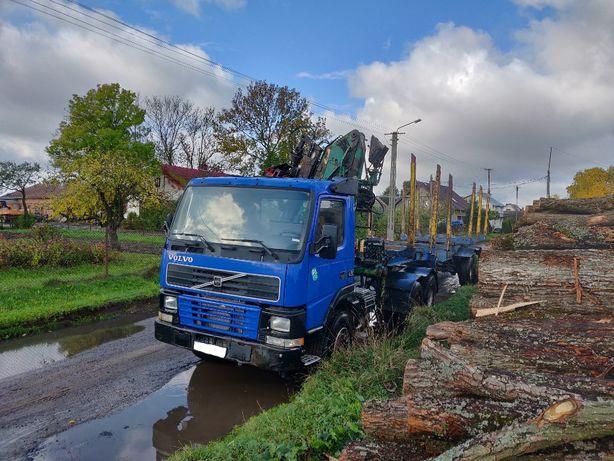 Volvo FM12 6x4 do dłużycy z dźwigiem i naczepą trailer crane longwood