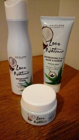 Zestaw kosmetyków Love Nature aloes i woda kokosowa