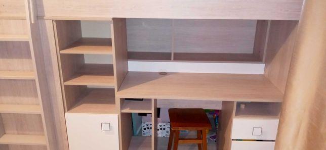 Lóżko piętrowe z biurkiem i szafą