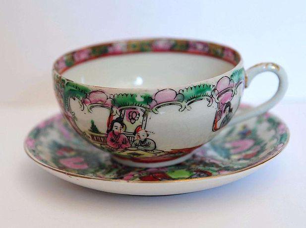 Chávena de chá porcelana chinesa - decoração Mandarim