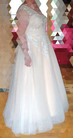 Suknia ślubna brzoskwinia plus size wysoka lekka piękna