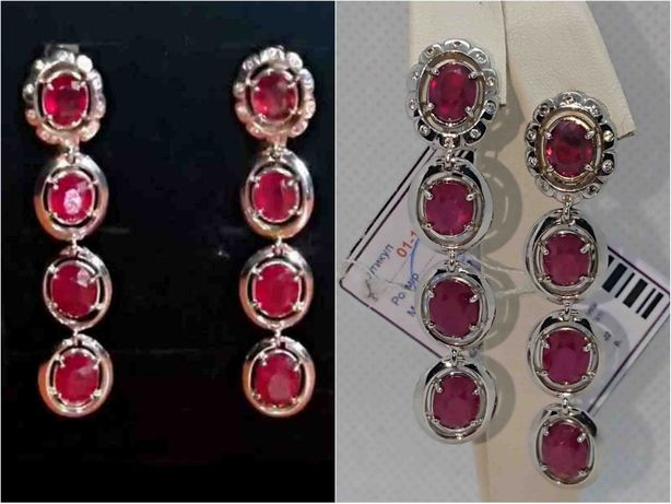 висячие серьги сережки рубин 7,2 Ct, бриллиант діамант золото 750