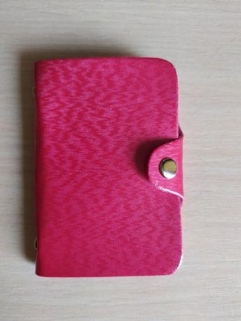 Розовая кредитница держатель карт кошелек визитница на 24 карточки