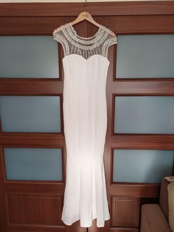 Sukienka biała suknia ślubna syrenka