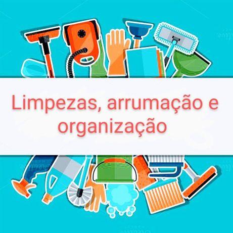Serviço de limpeza, arrumação e organização