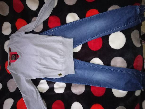 Jeansy i sweterek 134-140 komplet