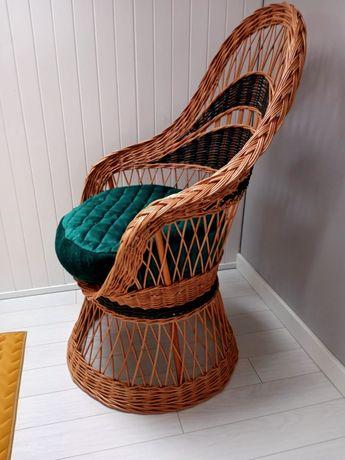 Fotel rattanowy wiklinowy retro industrialny