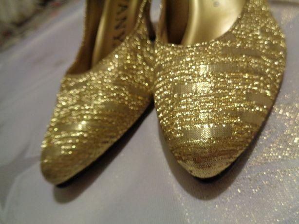 buty szpilki złote brokatowe roz. 38,5 obcas 8 cm. urodziny prezent