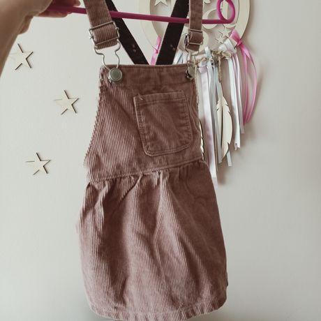Sztruksowa spódniczka na szelkach Zara 80