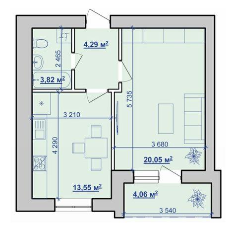 1 кімнатна квартира 44м² Власник біля обл. лікарні