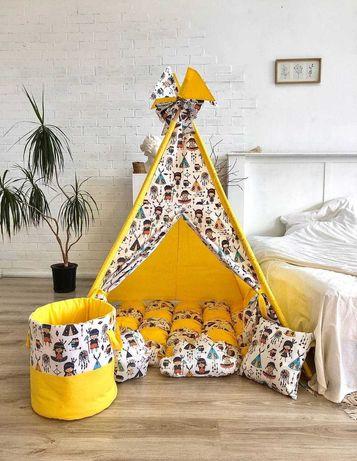 Палатка вигвам, детский игровой домик. Только натуральные материалы.
