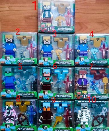 Nowe duże figurki 8cm Minecraft kompatybilne z klockami Lego Duplo