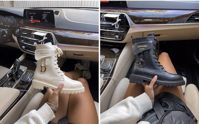 Женские зимние осенние ботинки Dior Boots Back диор на меху натур кожа