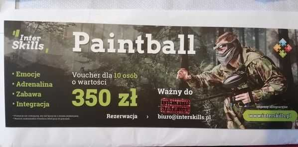 Voucher dla 10ciu osób Paintball