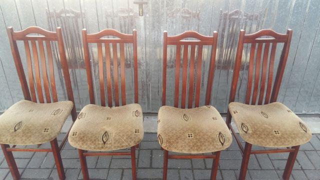 Krzesła drewniane tapicerowane - 4 sztuki - PRL