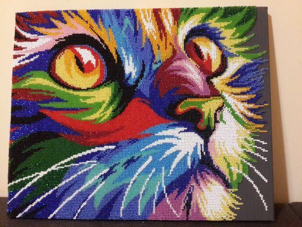 Неоновый взгляд. Кот. Картина бисером ручной работы