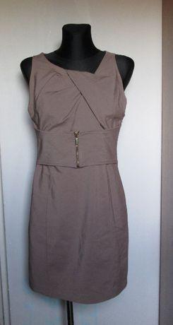 Oryginalna sukienka kawa z mlekiem zamek r. M/L