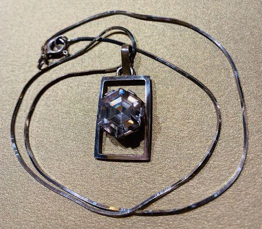 Naszyjnik ze srebra łańcuszek + wisiorek z mieniącym się kryształkiem