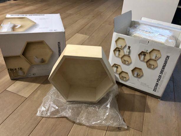 Półki drewniane heksagon plaster miodu