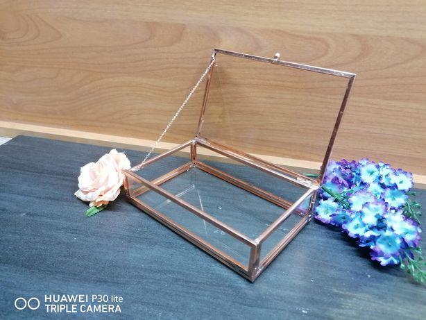 Pudełko szklane miedziane przezroczyste organizer szkatułka Rose Gold