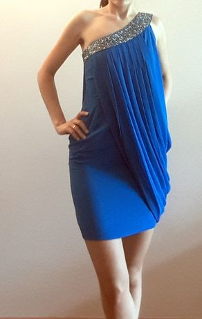 Nowa sukienka Asos LIPSY LONDON niebieska bandażowa 34 XS