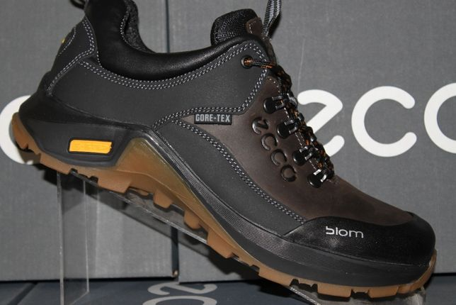 ECCO- кожаные черно-коричневые кроссовки - туфли(код:9-3-17кор.)