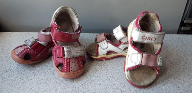 Skórzane buciki sandałki dla dziewczynki r.20 - skóra naturalna