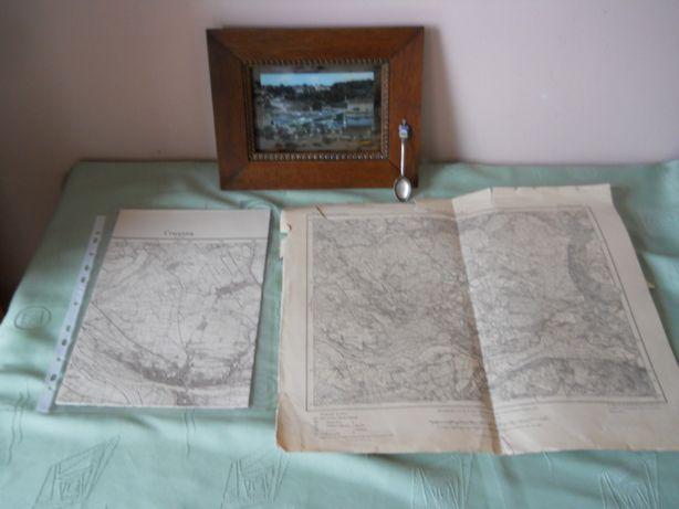 Krosno Odrzańskie-Crosen panorama srebrna łyżeczka i mapy