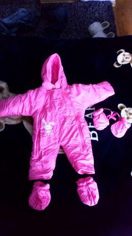 Kombinezon dla noworodka 62 0-3 msc dziewczynki różowy stan idealny