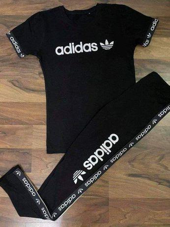 Komplety damskie premium z logo Adidas Nike czarne S-Xl!!!