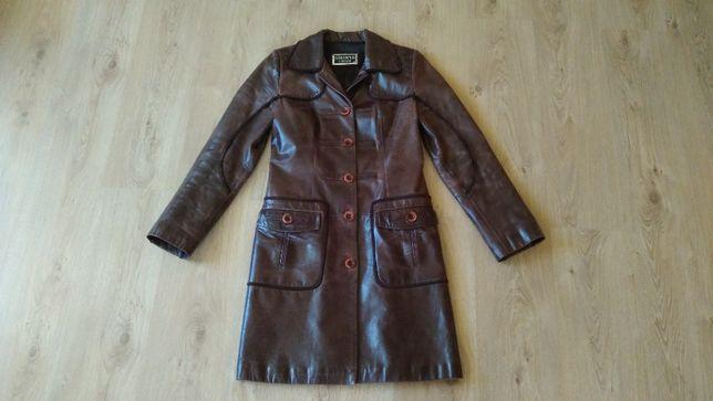 Кожаный женский плащ, пальто, тренч, размер М