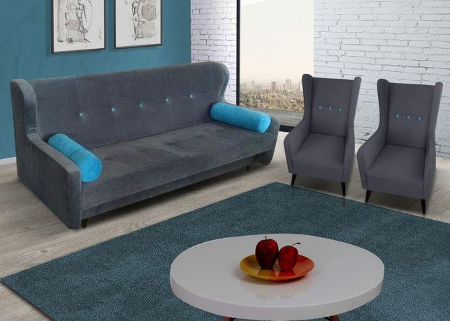 Zestaw Uszak/ Wersalka + 2 x fotele/ Sofa / Kanapa / Skandynawski