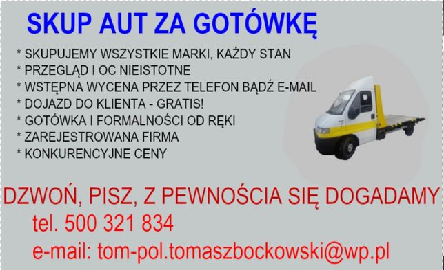 Skup aut za gotówkę/ LEGALNA FIRMA Łomża i okolice
