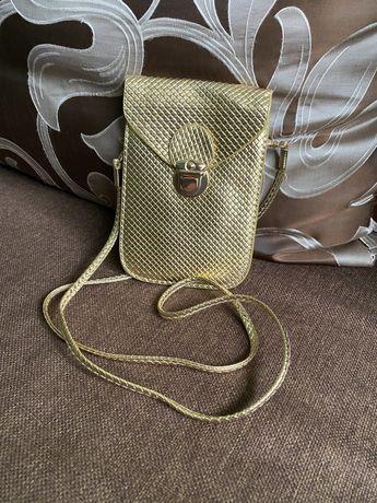 Золотиста сумка кросс боди клатч через плечо