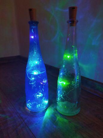 Butelka granatowa z lampkami