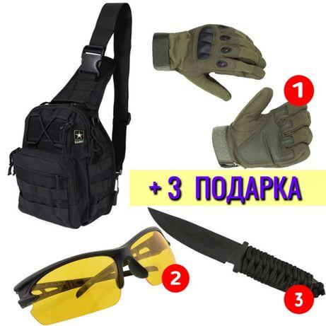 Сумка рюкзак MOLLE однолямочный 6л - Черный и Олива + 3 ПОДАРКА