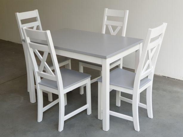 Zestaw prowansalski- stół + 4 krzesła Krzyż biały szary PRODUCENT nowy