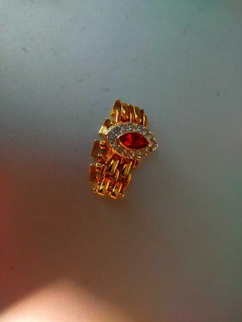 Кольцо, перстень, каблучка серебро с позолотой, рубин. Израиль