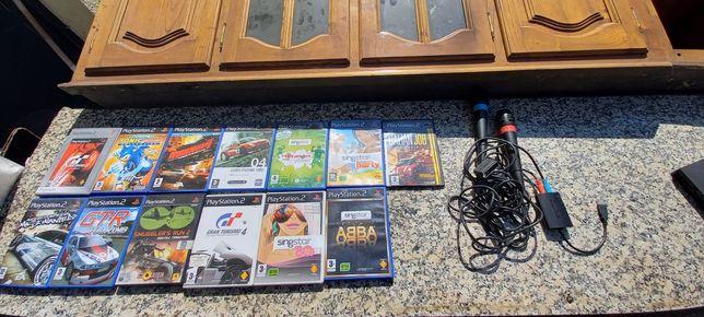 Conjunto Jogos playstation 2 e sistema de karaoke