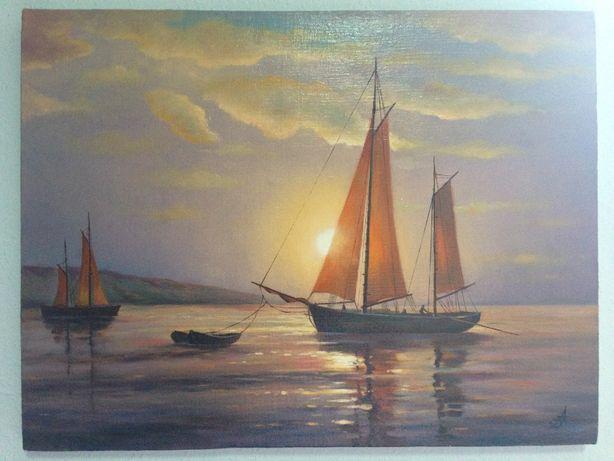 Картина, парусник, море, захід сонця, 52х40 см, холст, масло