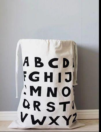 Nowy bawelniany worek na zabawki alfabet do przechowywania zabawek
