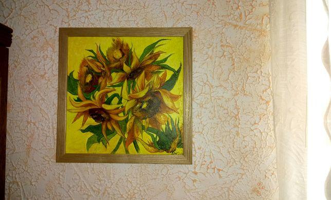 Картина Подсолнухи акрил на холсте