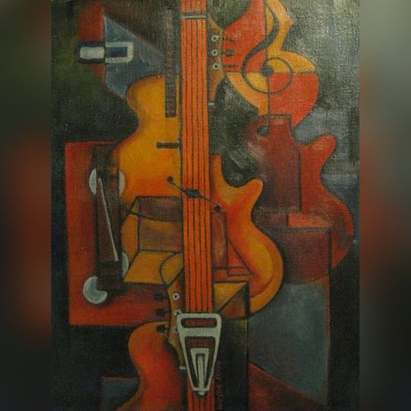 Obraz olejny, ręcznie malowany kubizm gitara
