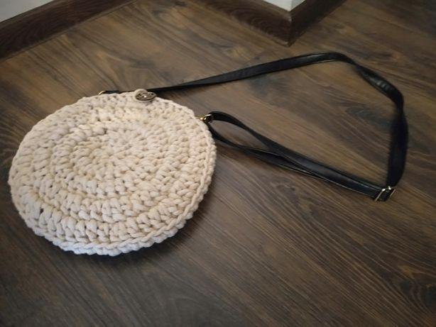 Nowa torebka pleciona ze sznurka bawełnianego