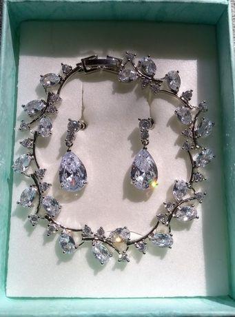 Biżuteria komplet kolczyki bransoletka,ślub wesele prezent,dzień kobie