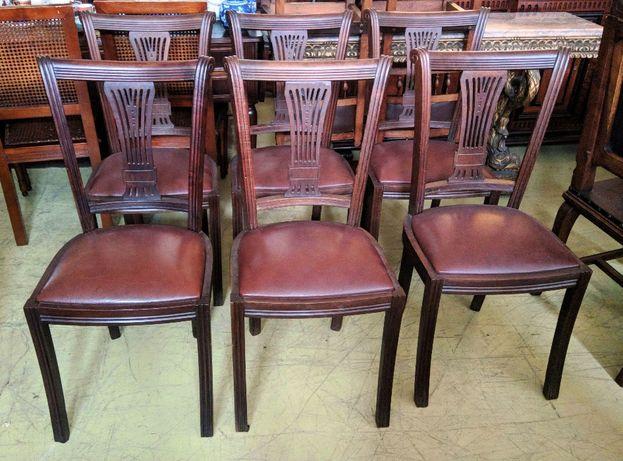 Conjunto 6 Cadeiras Nogueira Pele