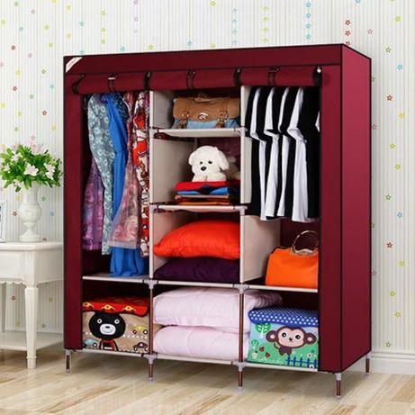 Тканевый шкаф складной каркасный STORAGE для одежды обуви 3 секции