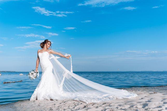 Цена бомба!Шикарное свадебное платье рыбка (русалка) с длинным шлейфом