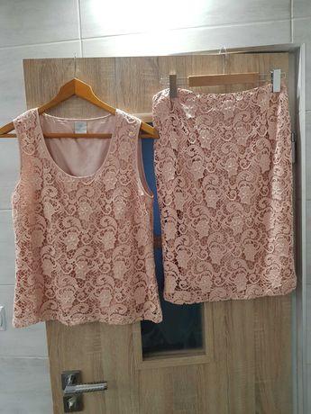 Spodnica+bluzka,koronkowy komplet,pudrowy róż
