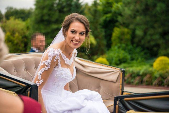 Suknia ślubna, cielista siateczka r.34/36 + welon gratis!